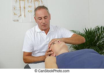 tête, bureau, monde médical, réception, masage, homme