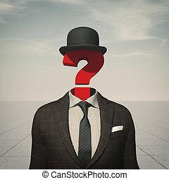 tête, business, point interrogation, endroit, homme
