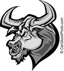 tête, ca, vecteur, taureau, longhorn, mascotte