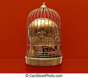 tête, cage
