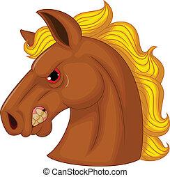 tête, caractère, cheval, mascotte, dessin animé