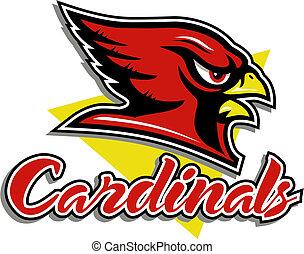 tête, cardinal, mascotte