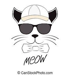 tête, casquette, chat, arrière-plan., lunettes protectrices, blanc