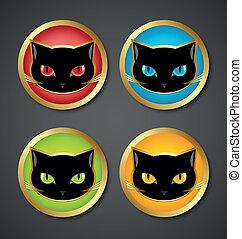 tête, chat, noir, icônes