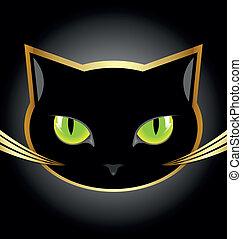 tête, chat noir