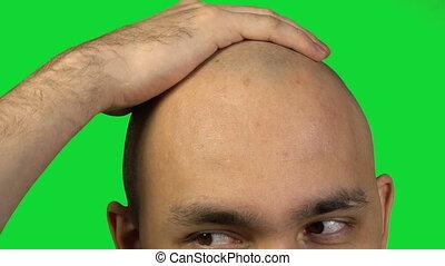 tête, chauve, figure, toucher, arrière-plan vert, moitié, homme