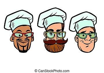 tête, chefs, groupe multi-ethnique