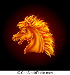 tête, cheval, brûler, fond, isolé, noir