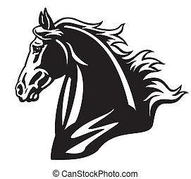 tête, cheval, noir, blanc