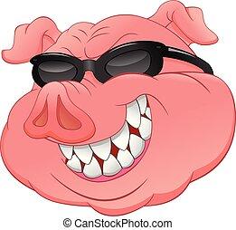 tête, cochon, usure, lunettes