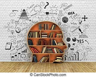 tête, concept, connaissance, mur, forme, coupure, dessins, bois, livres, humain, étagère