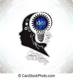 tête, concept, humain, fonctionnement, dents, technologie, idée, ensemble, vecteur, engrenages, fond, électronique