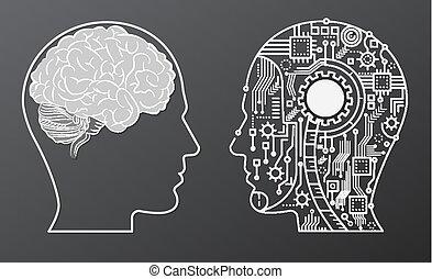 tête, concept, illustration., intelligence, esprit, robot, artificiel, cerveau, humain