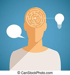 tête, concept, processus, pensée, vecteur, humain, labyrinthe