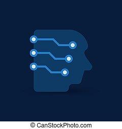 tête, concept, réseau, vecteur, numérique, électronique, icône