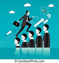 tête, concept, success., professionnels, étape, vecteur, manière, homme affaires, autre, illustration.
