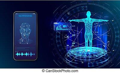 tête, concept, technologie, reconnaissance, concept., facial, système, figure, robot., identification, combiné, humain, numérique, planche, électronique, ou, balayage, biometric
