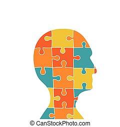 tête, contient, morceaux puzzle