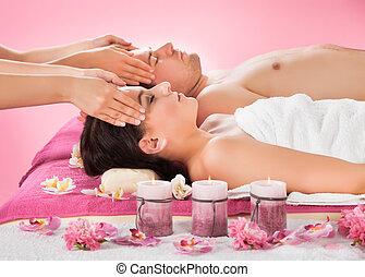 tête, couple, spa, réception, décontracté, masage