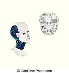 tête, cyborg, vecteur, homme, puce, dessin animé, icône