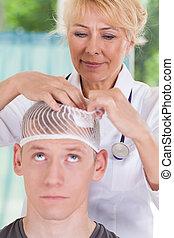 tête, demande, docteur, après, assaisonnement, blessure