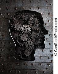 tête, dents, métal, cerveau, engrenages, humain, concept: