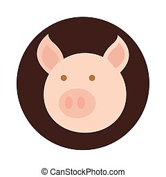 tête, dessin animé, plat, cochon, icône, animal, agriculture, ferme, bloc