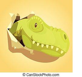tête, dinosaures, fond, impression, sauter, dehors
