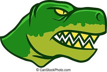 tête, dinosaurus, vue côté
