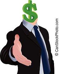 tête, dollar, figure humaine