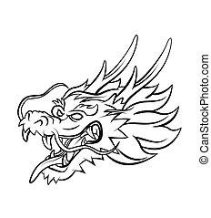 Tete Conception Dragon Tete Monstre Woodcut Vendange Style