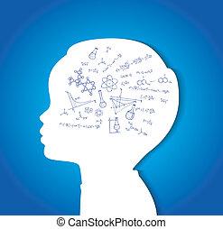 tête, education, enfant, icônes