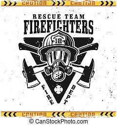 tête, emblème, vecteur, pompiers, casque