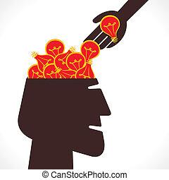 tête, entiers, idée, ampoule, nouveau, ou