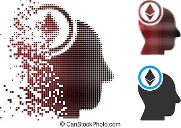 tête, esprit, halftone, cassé, ethereum, pixel, icône
