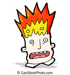 tête, exploser, dessin animé