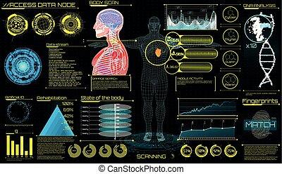 tête, exposer, app, haut, (hud), ui, monde médical