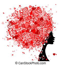 tête, fait, coiffure, minuscule, conception, femme, cœurs, ...