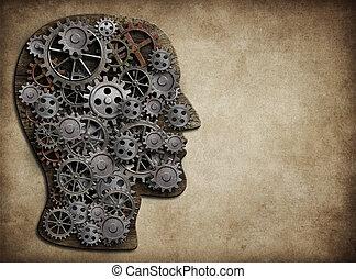 tête, fait, concept., idée, cogs., cerveau, engrenages, activité