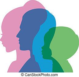 tête, famille, icônes