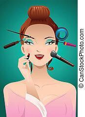 tête, femme, application maquillage