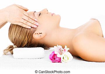 tête, femme, avoir, masage