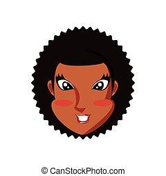 tête, femme, caractère, jeune, noir, avatar