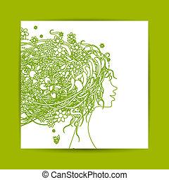 tête, femme, coiffure, carte postale, conception, floral, ton