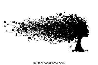 tête, femme, coiffure, conception, floral, ton