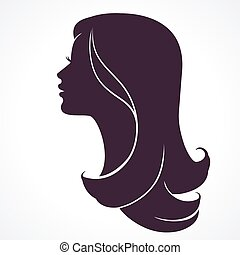 tête, femme, coiffure, long, silhouette., cheveux, profile., face femelle