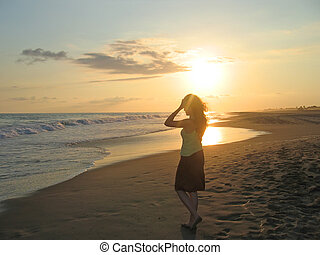 tête, femme, elle, mexique, exotique, ange, pendant, mains, puerto, plage, coucher soleil