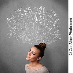 tête, femme, elle, pensée, flèches, jeune, au-dessus, sketched