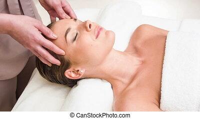 tête, femme, haut, jeune, fin, réception, masage