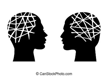tête, femme, homme, santé mentale, concept.